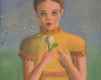 Girl with Dandelion ORIGINAL PAINTING oil on canvas small size flower golden yellow blue gray nature retro - Free U.S. shipping