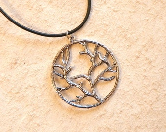 Silver Branch on Leather