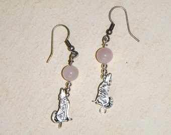 Coyote Howling at the Moon Earrings