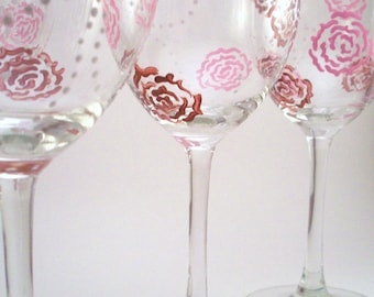 Hand painted wine glasses, pink and brown roses with white dotted flowers, romantic glassware, painted glasses, gift for her, set of 4