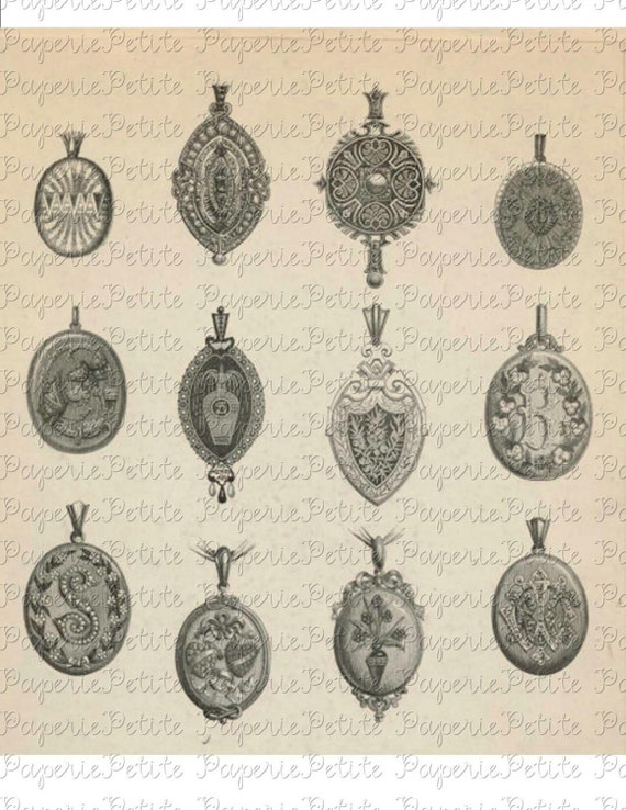 Vintage Lockets Jewelry Digital Download Collage Sheet