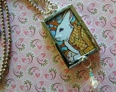 Reserved for Laura ~ The White Rabbit and Alice in Wonderland Art Pendant
