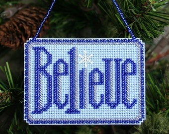 Believe Cross Stitched and Beaded Holiday Christmas Tree Ornament - Free U.S. Shipping