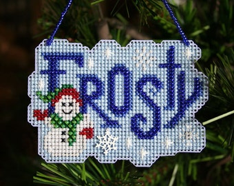 Frosty - Cross Stitched and Beaded Christmas Ornament - Free U.S. Shipping