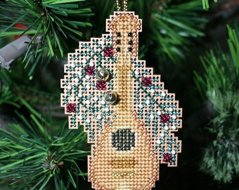 Mandolin Ornament - Holiday Christmas Tree Ornament - Cross Stitched and Beaded - Free U.S. Shipping