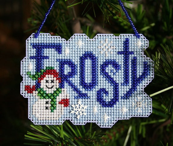 Frosty - Cross Stitched and Beaded Christmas Ornament - Free Shipping