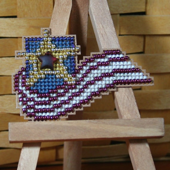 Stars and Stripes Beaded Cross Stitch Ornament, Pin, or Magnet - Free U.S. Shipping