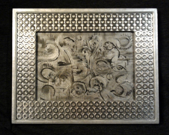 5x7 Stainless Steel Mosaic Art Frame with Original Painting