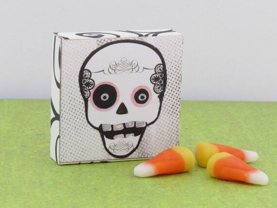 Sugar Skull Square Magnet - Day of the Dead Skull Magnet - Magnetic Memo board Office Organizer