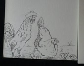 Farm Chicken Rooster Chicks Notecard Set - Hand Colored Artwork
