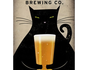 FREE CUSTOMIZATION Fat Cat Brewing Company Black Cat Graphic Art print SIGNED
