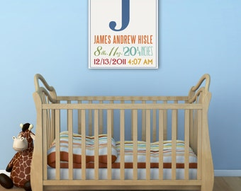 CUSTOM Baby Birth Nursery graphic Gallery Wrapped Canvas Panel  Personalized Wall Art