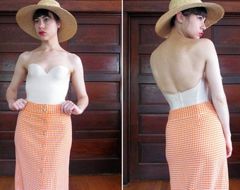 SALE//1970s GLOW GINGHAM Maxi Skirt with Wooden Buttons S
