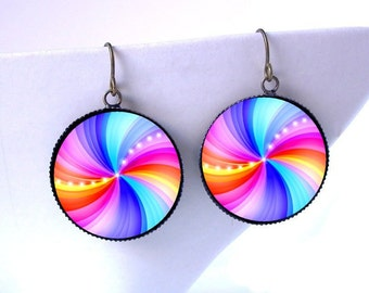 Rainbow Fractal Dangle Earrings Psychedelic Jewelry -Hippie Raver Burner Boho UV black light Reactive