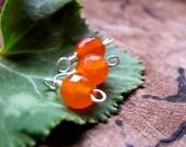 Carnelian Gemstone Sterling Silver Dangles - Tangerine Orange Carnelian stone Trio Dangle Charms