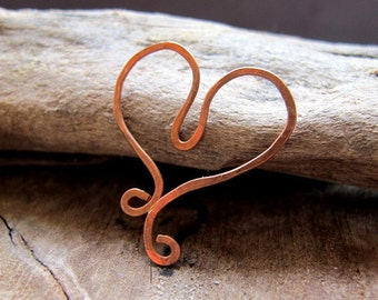 Valentine Rustic Copper Heart Pendant / Embellishment. Hand Forged Heart in Copper Supplies. Artisan Hearts. Heart Connector. Handmade heart