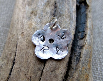 Flower Initial Pendant - Sterling Silver Personalized Family Charm - Hand stamped additional add on