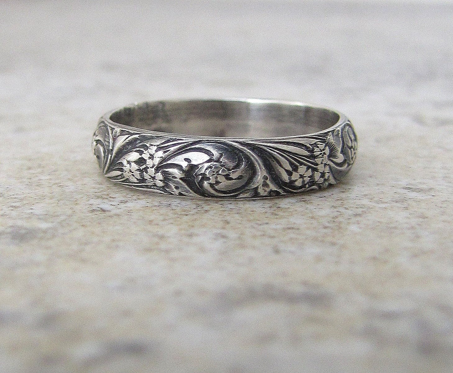 wedding band floral pattern ring antique silver floral wedding