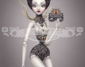 Valentine -  8x10 art print - mature pin up. Victorian Circus pinup girl in tight lacing corset - bjd art - sideshow by KarolinFelix