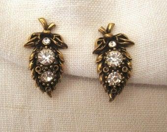 Coro Antique Gold Earrings w/ Rhinestones