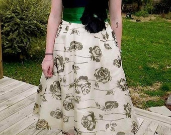Vintage 50s Black Rose Print and Green Satin Party Dress with Chiffon Skirt and Petticoat  sm - on sale