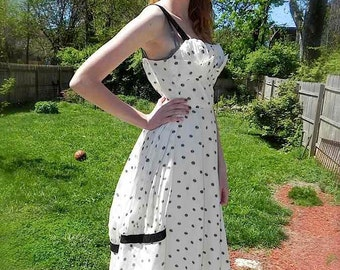 Vintage 50s Dress , 1950s White and Black Dot Party Dress with Full Skirt and Bustle and Petal Shelf Bust S XS - on sale