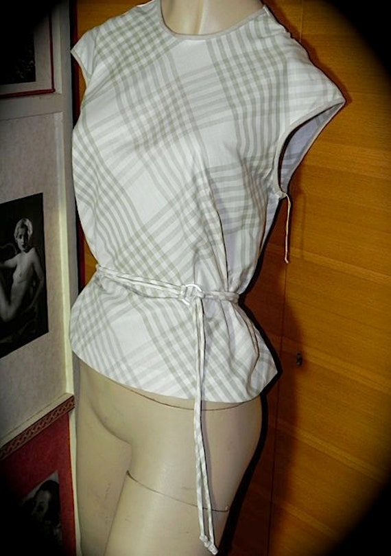 Moss and Mocha Fab Dead Stock Vintage 50s Top with Belt L XL -on sale-