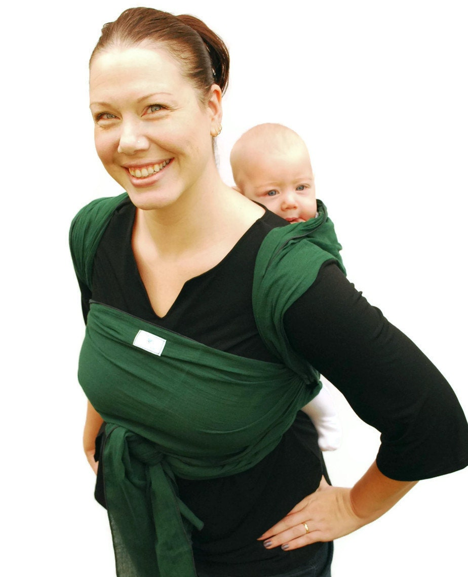 baby wrap carrier woven wrap cotton gauze forest green by