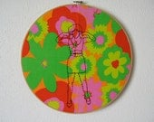 Eve -- embroidery, original art, pinup art, pin-up, kitsch, feminist, erotica, hand-stitched, framed, round, floral -- 100 Ladies #051