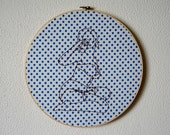 Layla -- pinup art, embroidery, original art, pin-up, kitsch, feminist, erotica, framed, round, alcoholic -- 100 Ladies #084
