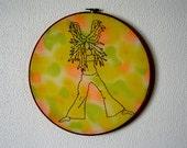 Shari -- original embroidery, pinup art, original art, hippie, pin-up, kitsch, feminist, erotica, framed, round, bright -- 100 Ladies #027