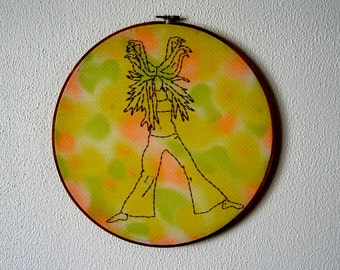 Shari -- original embroidery, pinup art, original art, hippie, pin-up, kitsch, feminist, erotica, framed, round, bright -- 100 Ladies #027