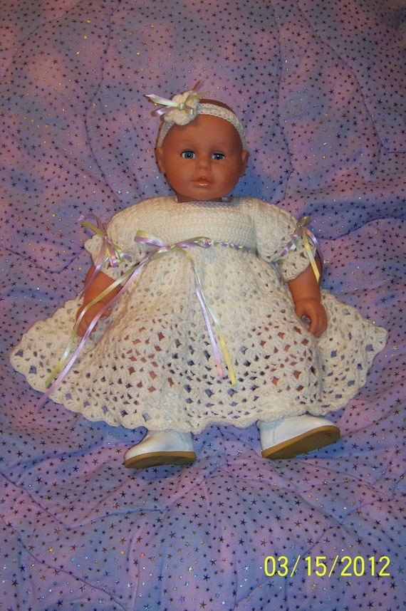 Dainty Ivory Infant Dress and Headband Set