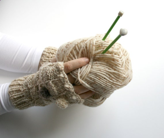Knitted Beige Wool Tweed Fingerless Gloves With Pompom/ gift for her / Valentine Gift / Wool Knit Mittens