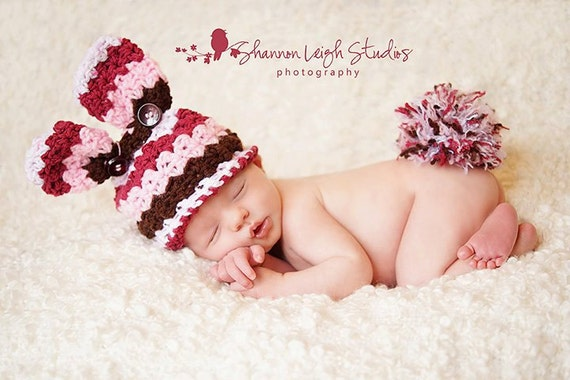 Crochet Bunny hat and tail poof