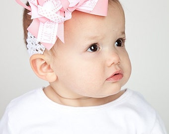 Little Sister Hair Bow, Pink and White OTT, Newborn Headband, Infant Headband, Baby Headband, Baby Shower Gifts, Baby & Toddler
