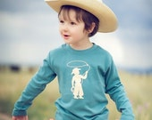 Cowboy Long Sleeved Nostalgic Graphic Tee in Steel Blue with Khaki--Our Best Selling Design