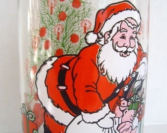 Coca Cola Classic Santa Claus Glass Tumbler, Christmas, McCrory Stores, Replacement, Coke Collectible, Iconic, Set Prop