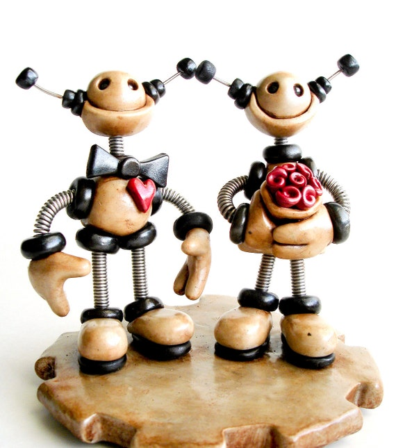 Rustic Robot Wedding Cake Topper MADE TO ORDER Robot Bride and Groom 6 inch - Clay and Wire