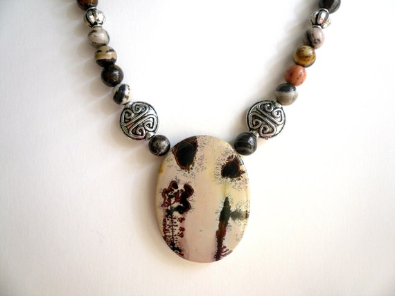 SALE ... Designer Unique Rare Print Apache Jasper and Bali silver style necklace. Perfect Jewelry Gift. Gift for her. ETSY Gift.