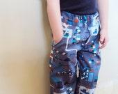 Shipyard Boy's Pants, blue and gray organic cotton, organic toddler pants with pockets