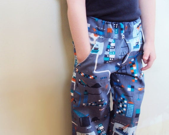 Shipyard Boy's Pants, blue and gray organic cotton, organic toddler pants with pockets