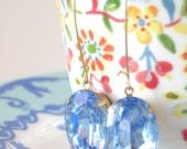 Light Sapphire Earrings Large Oval Pale Blue Rhinestone Prom Wedding