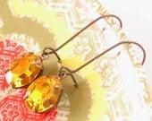 Vintage Topaz Swarovski Earrings Autumn Gold Yellow Retro Honey Rhinestones