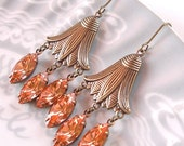 Swarovski Padparadscha Earrings Summer Peach Melon Chandelier Retro Prom Rhinestones Art Deco Tulip