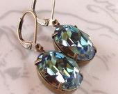 Swarovski Erinite Earrings Ocean Blue Green Crystal Rhinestone Summer Bridal Bridesmaid Earrings