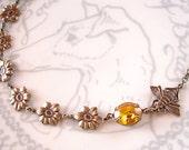 Honey Bee Necklace Golden Topaz Swarovski Crystal Autumn Yellow Rhinestones
