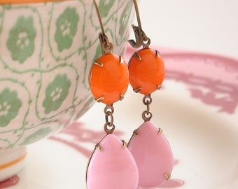 Vintage Orange Pink Milk Glass Earrings Retro Rhinestone Strawberry Orange Soda