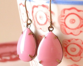 Candy Pink Earrings Retro Summer Pink Milk Glass Mod 60s