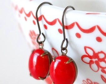 Red Milk Glass Earrings Retro Nautical Candy Red Mod 60s Style